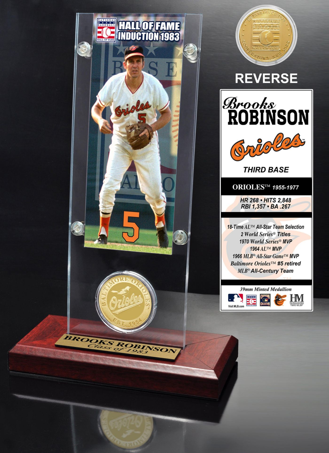 Highland Mint Brooks Robinson Baltimore Orioles Hall of Fame Ticket and Bronze Coin Acrylic Desktop Display