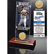 Highland Mint Nolan Ryan Texas Rangers Hall of Fame Ticket and Bronze Coin Acrylic Desktop Display