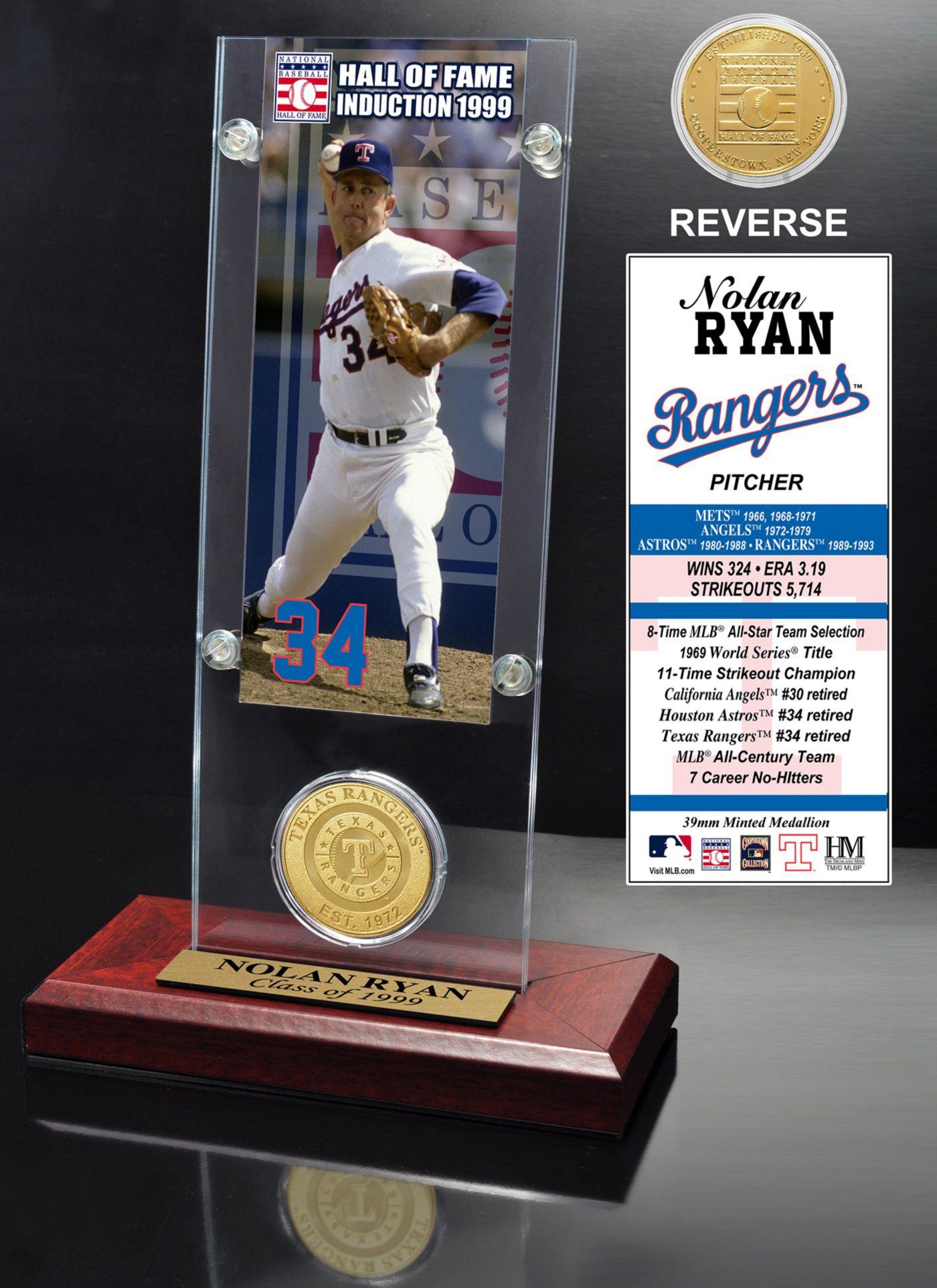 Highland Mint Nolan Ryan Texas Rangers Hall of Fame Ticket and Bronze Coin Acrylic Desktop Display