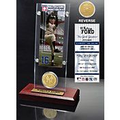 Highland Mint Whitey Ford New York Yankees Hall of Fame Ticket and Bronze Coin Acrylic Desktop Display