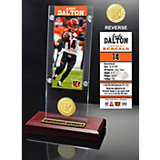 Highland Mint Cincinnati Bengals Andy Dalton Ticket and Bronze Coin Desktop Display