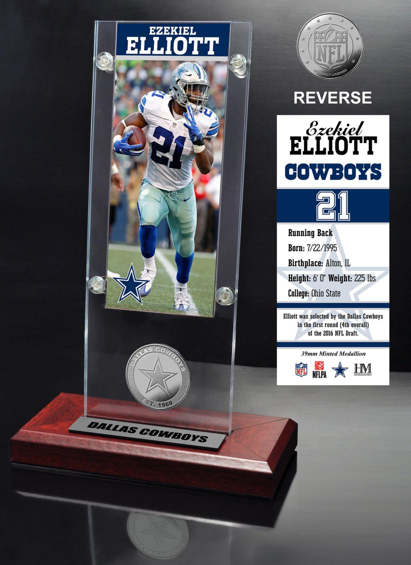 Highland Mint Dallas Cowboys Ezekiel Elliott Ticket and Bronze Coin Desktop Display