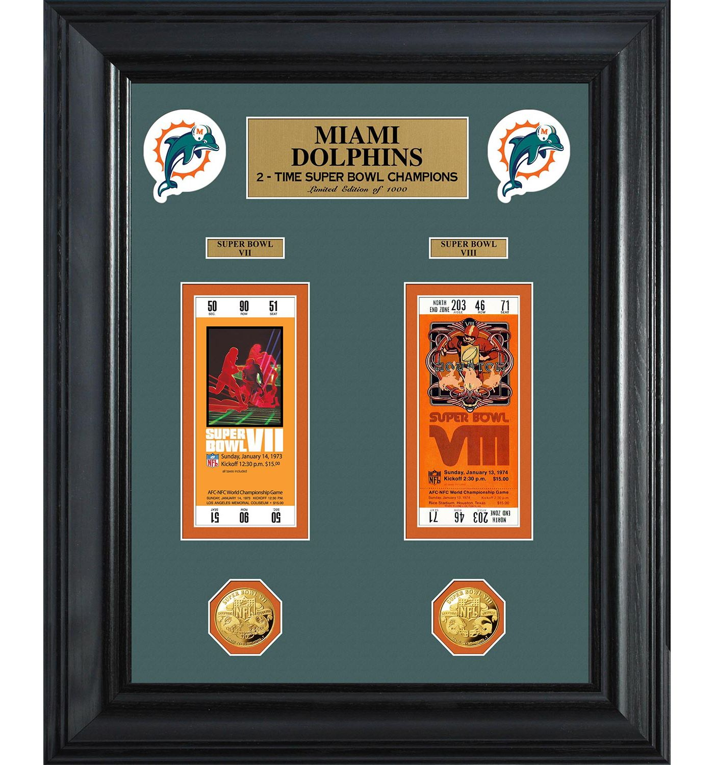 The Highland Mint Miami Dolphins Super Bowl Ticket and Coin Collection