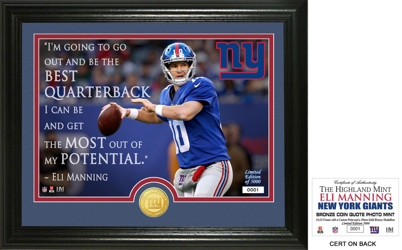 """Highland Mint New York Giants Eli Manning """"Quote"""" Bronze Coin Photo Mint"""