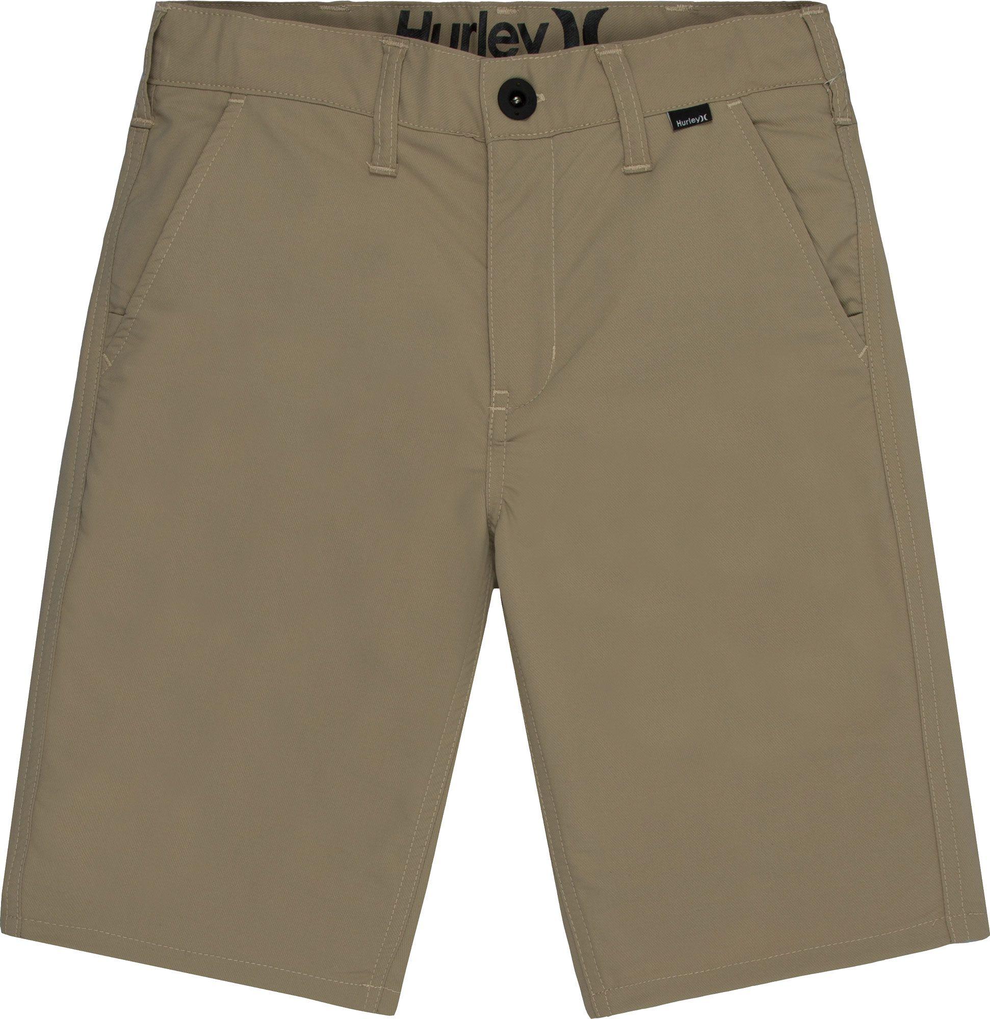 NEW Hurley beige khaki chino long skate walk shorts boys youth 10 12 14 16 18 20