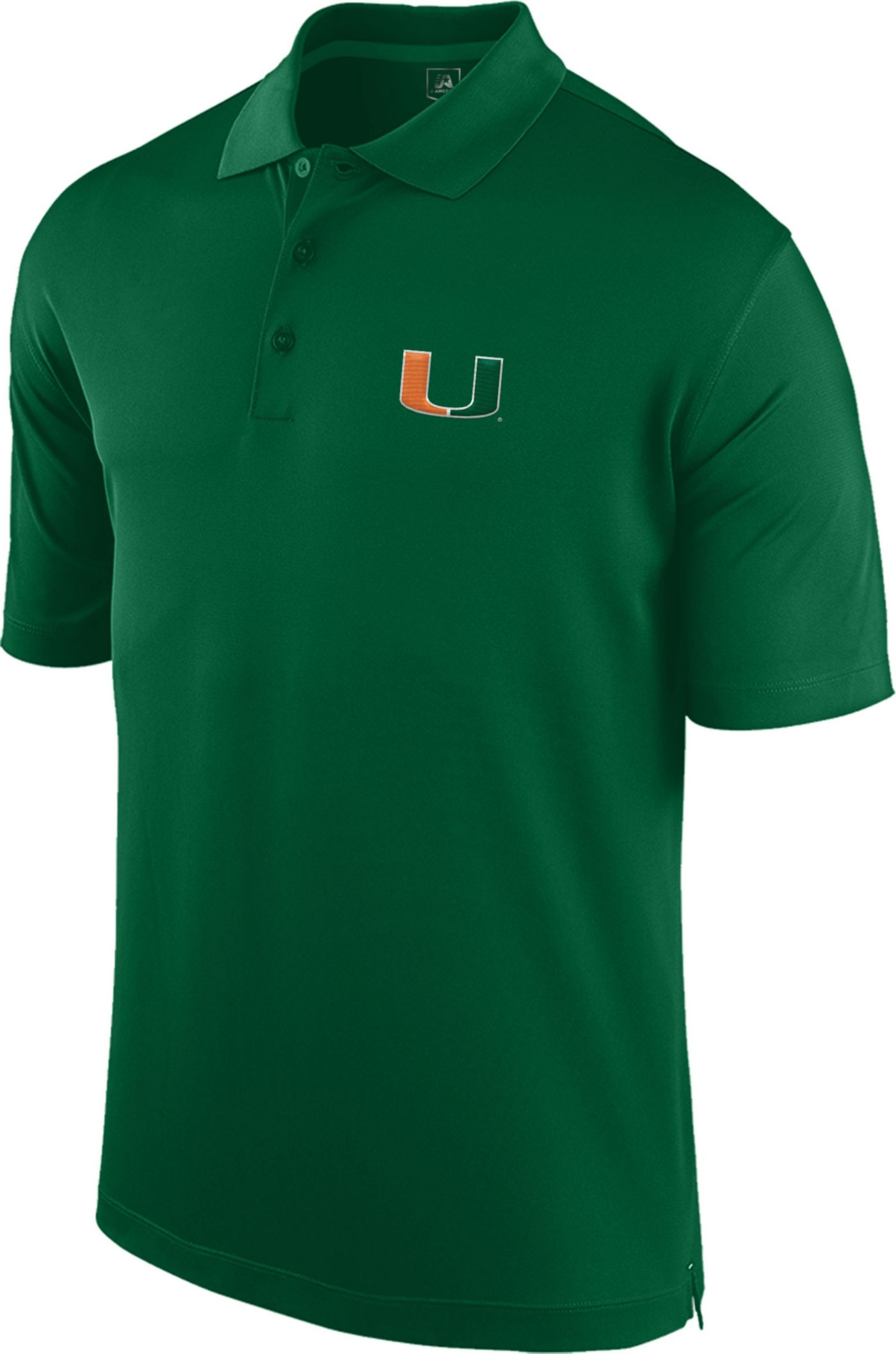 J. America Men's Miami Hurricanes Green Spector Polo