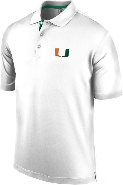 J. America Men's Miami Hurricanes Spector White Polo
