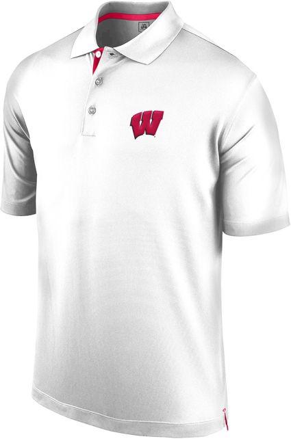 J. America Men's Wisconsin Badgers Spector White Polo