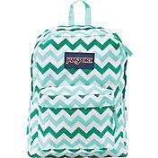 JanSport Superbreak Backpack in Chevron/Aqua/Dash