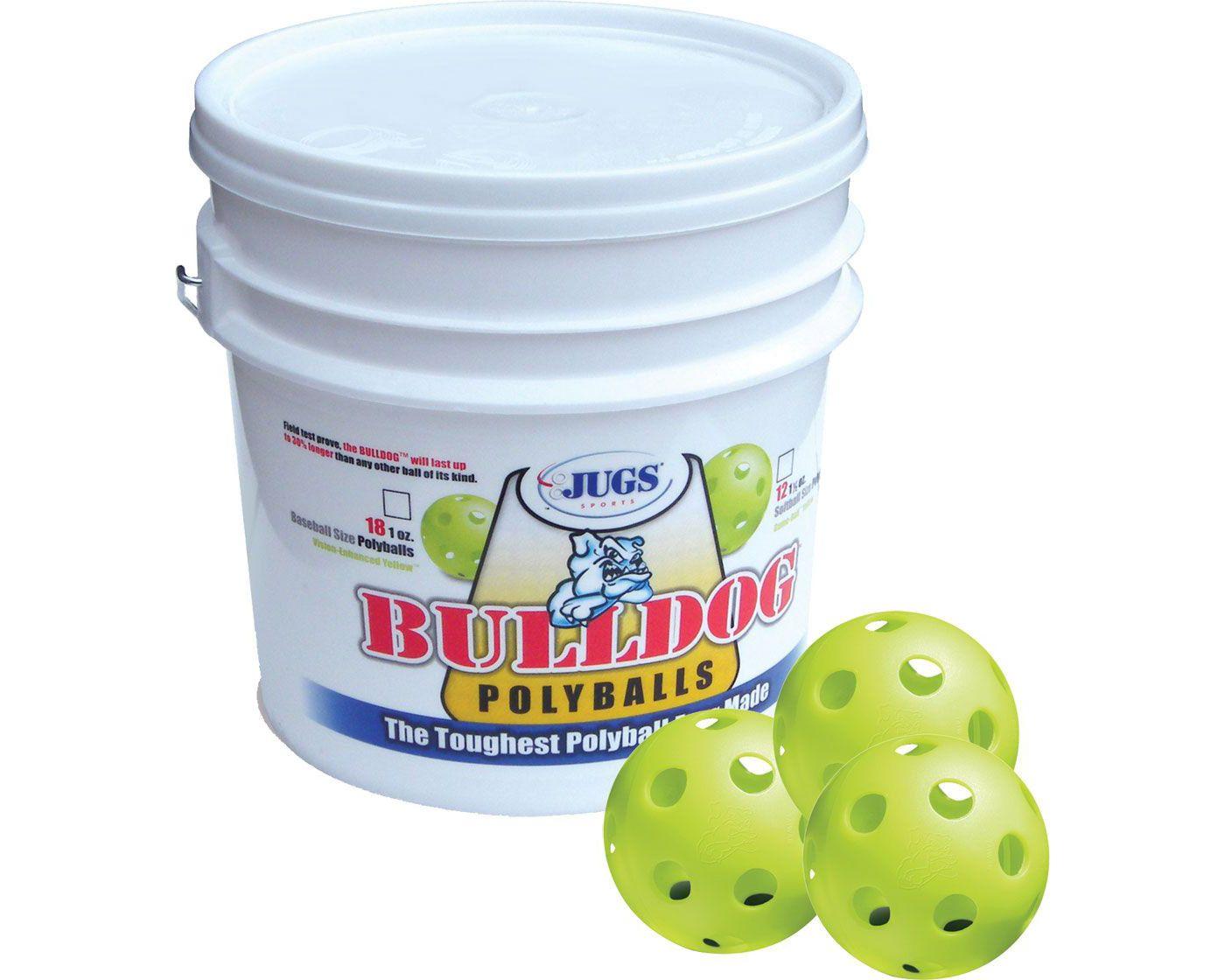 Jugs Bulldog Yellow Poly Training Softballs - Bucket of 12