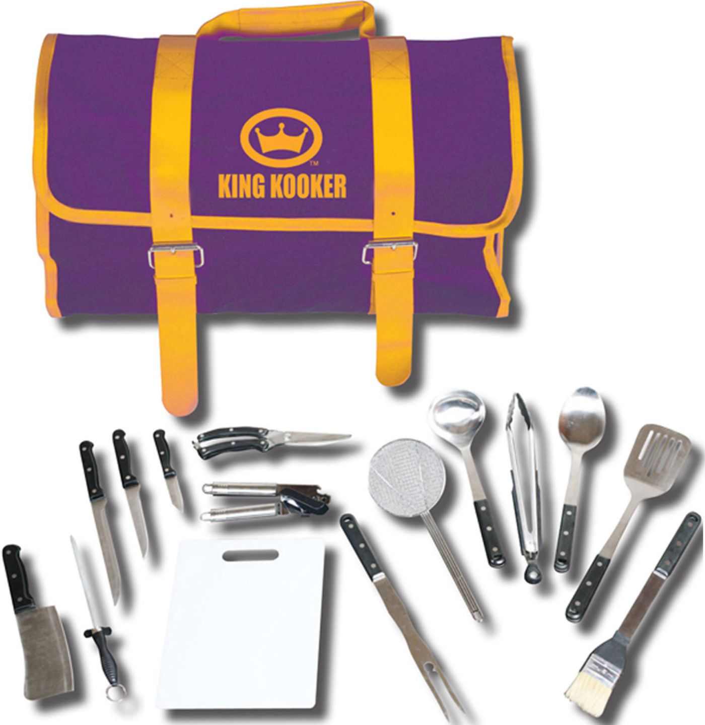 King Kooker 16 Piece Utensil Set with Purple/Gold Carrying Case