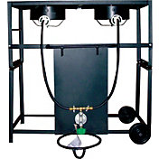 King Kooker Bolt Together Two Burner Outdoor Cooking Cart Package