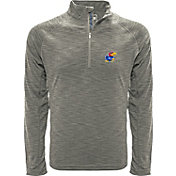 Levelwear Men's Kansas Jayhawks Grey Mobility Long Sleeve Quarter-Zip Shirt