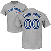 Majestic Men's Custom Toronto Blue Jays Grey T-Shirt