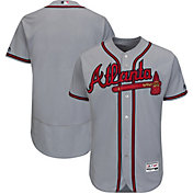 Majestic Men's Authentic Atlanta Braves Road Grey Flex Base On-Field Jersey