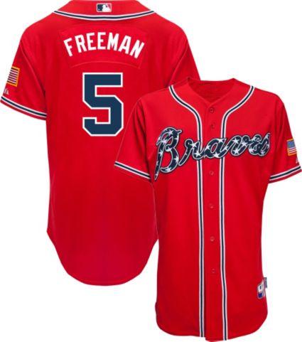 Majestic Men's Authentic Atlanta Braves Freddie Freeman #5 Cool Base Alternate Red On-Field Jersey