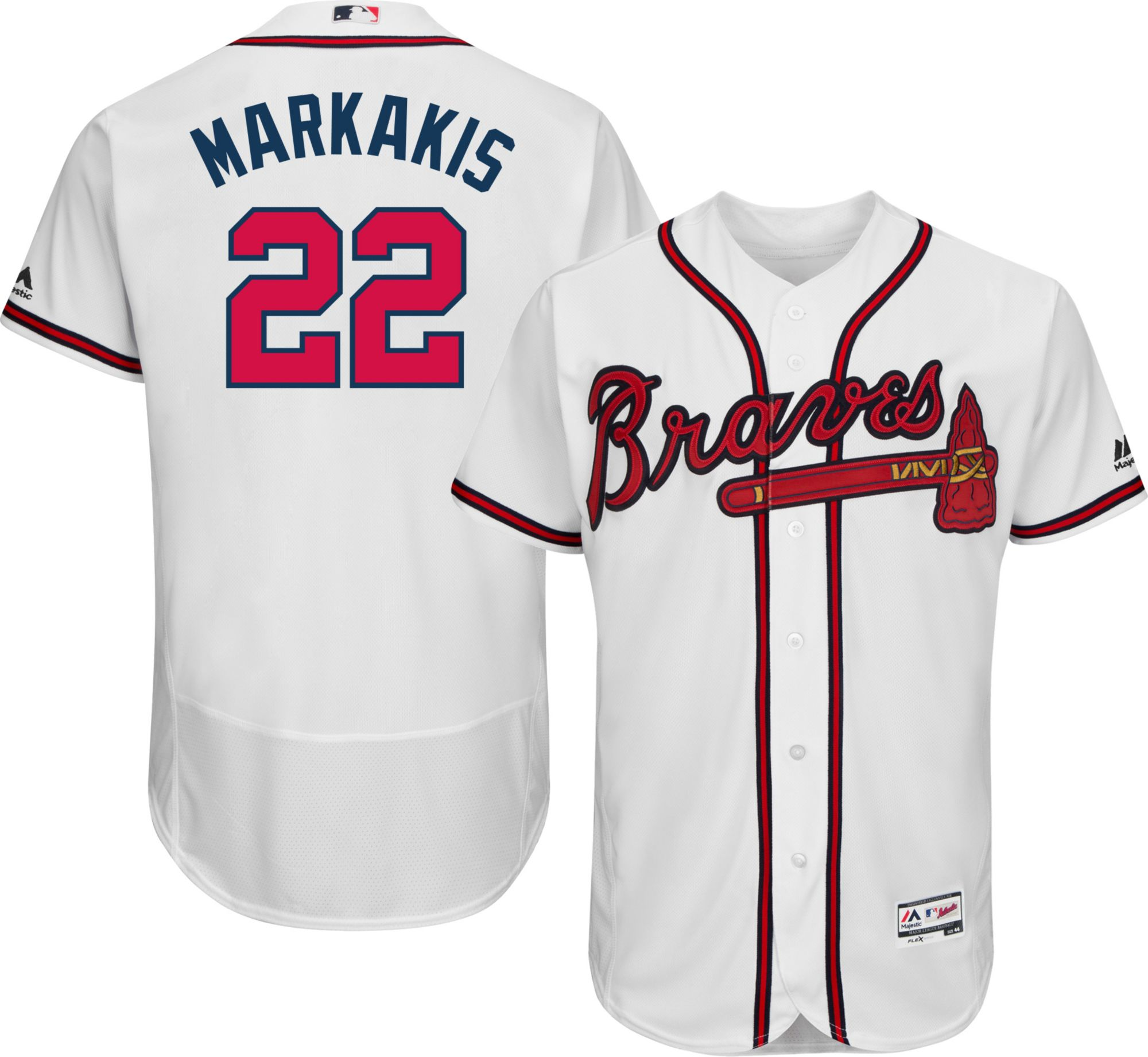 3a0873c8c ... reduced majestic mens authentic atlanta braves nick markakis 22 home  white flex base on field jersey