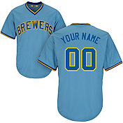 Majestic Men's Custom Cool Base Cooperstown Replica Milwaukee Brewers 1982 Light Blue Jersey