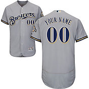 Majestic Men's Custom Authentic Milwaukee Brewers Flex Base Road Grey On-Field Jersey