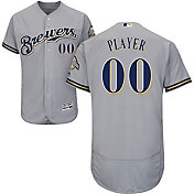 Majestic Men's Full Roster Authentic Milwaukee Brewers Flex Base Road Grey On-Field Jersey