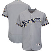 17b4439d304289 Product Image · Majestic Men s Authentic Milwaukee Brewers Road Grey Flex  Base On-Field Jersey