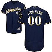 Majestic Men's Custom Authentic Milwaukee Brewers Flex Base Alternate Road Navy On-Field Jersey