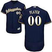 Majestic Men's Full Roster Authentic Milwaukee Brewers Flex Base Alternate Road Navy On-Field Jersey
