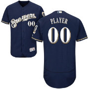 Majestic Men's Full Roster Authentic Milwaukee Brewers Flex Base Alternate Home Navy On-Field Jersey