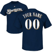 Majestic Men's Custom Milwaukee Brewers Navy T-Shirt