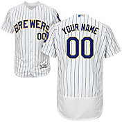 Majestic Men's Custom Authentic Milwaukee Brewers Flex Base Alternate White On-Field Jersey