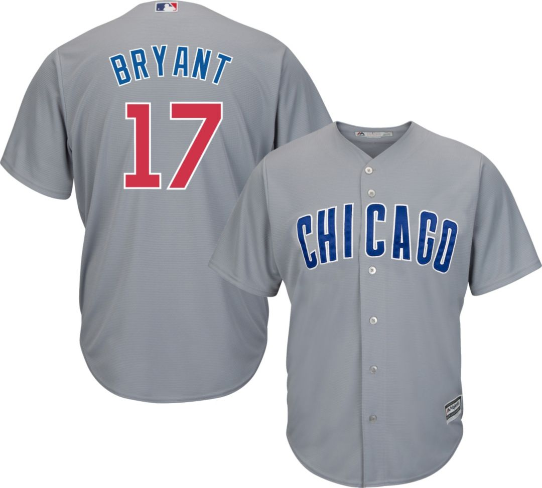 sale retailer 5aab4 f46e0 Majestic Men's Replica Chicago Cubs Kris Bryant #17 Cool Base Road Grey  Jersey