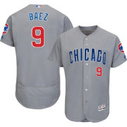 Majestic Men's Authentic Chicago Cubs Javier Baez #9 Road Grey Flex Base On-Field Jersey