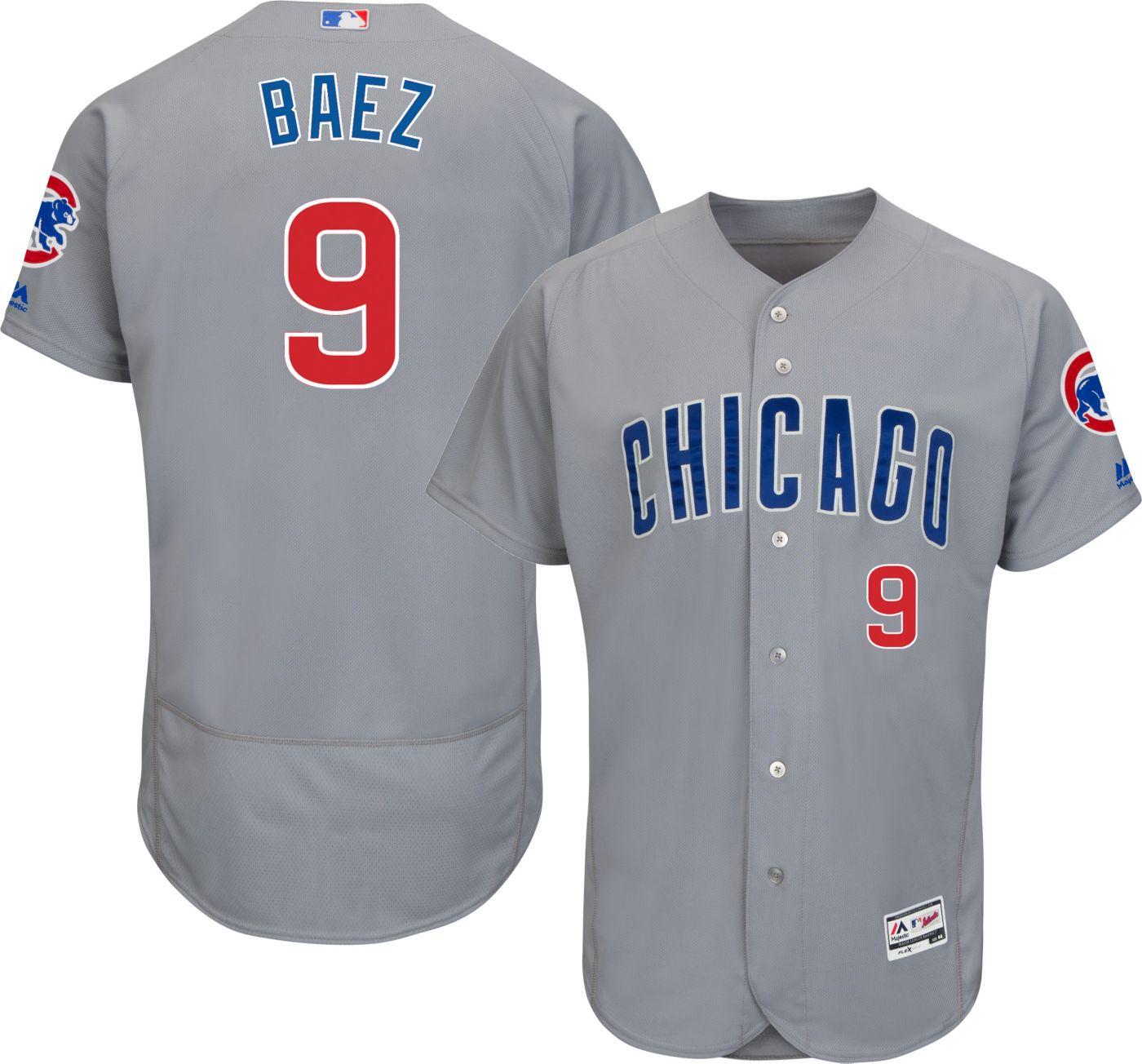 Majestic Men's Authentic Chicago Cubs Javier Baez #9 Road Grey Flex Base On-Field Jersey