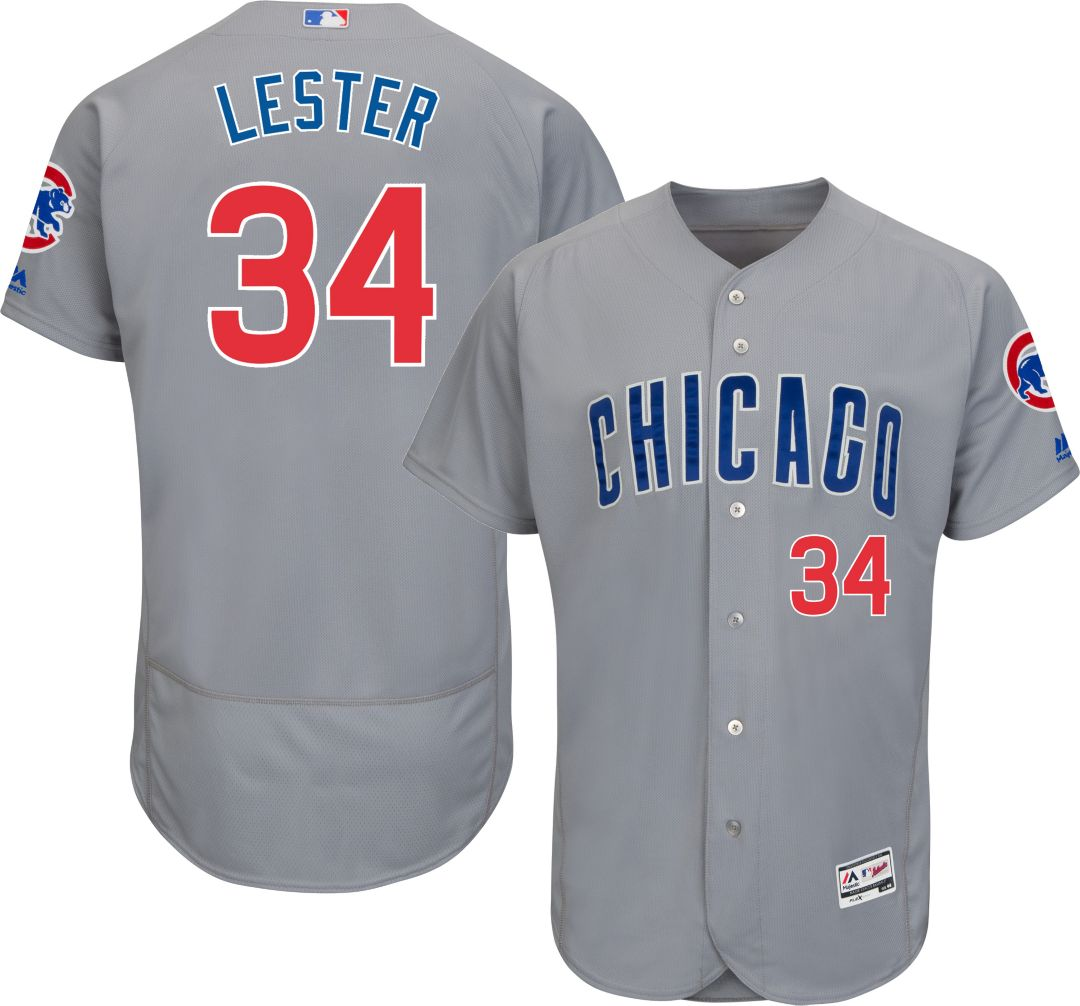 a52ff8ee1 Majestic Men s Authentic Chicago Cubs Jon Lester  34 Road Grey Flex Base  On-Field