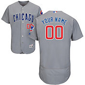 Majestic Men's Custom Authentic Chicago Cubs Flex Base Road Grey On-Field Jersey