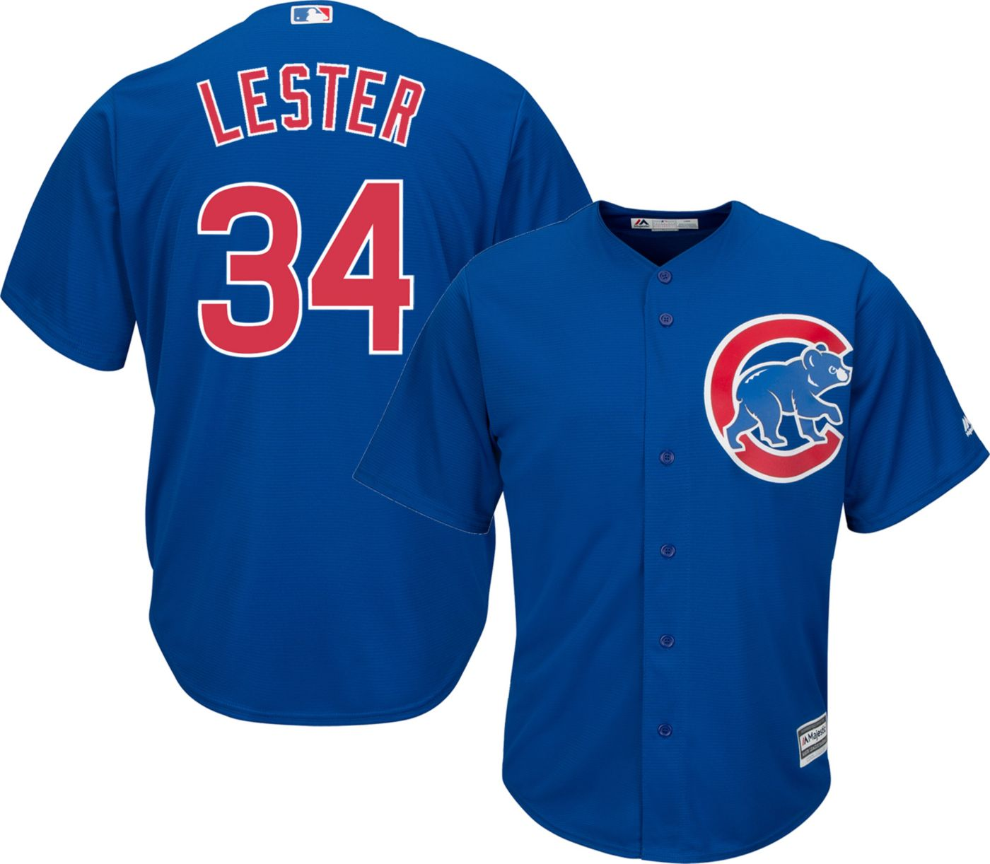 Majestic Men's Replica Chicago Cubs Jon Lester #34 Cool Base Alternate Royal Jersey