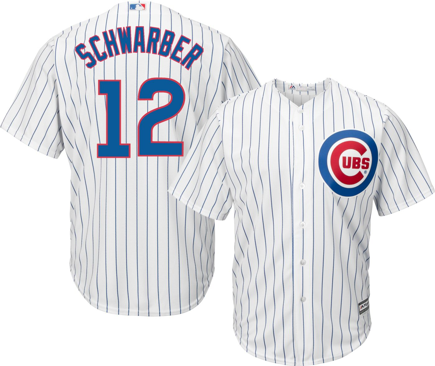 Majestic Men's Replica Chicago Cubs Kyle Schwarber #12 Cool Base Home White Jersey