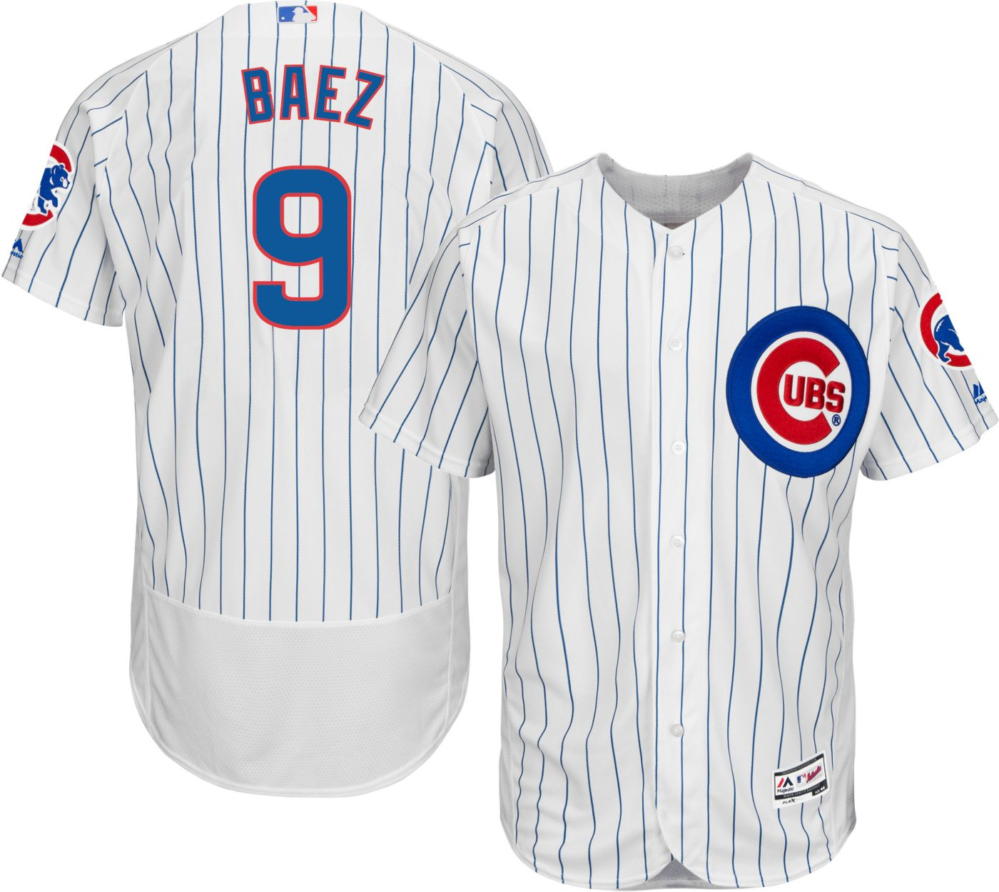 Majestic Men's Authentic Chicago Cubs Javier Baez #9 Home White Flex Base On-Field Jersey