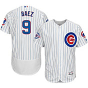 Majestic Men's Authentic Chicago Cubs Javier Baez #9 Home White Flex Base On-Field Jersey w/ Wrigley Field Patch