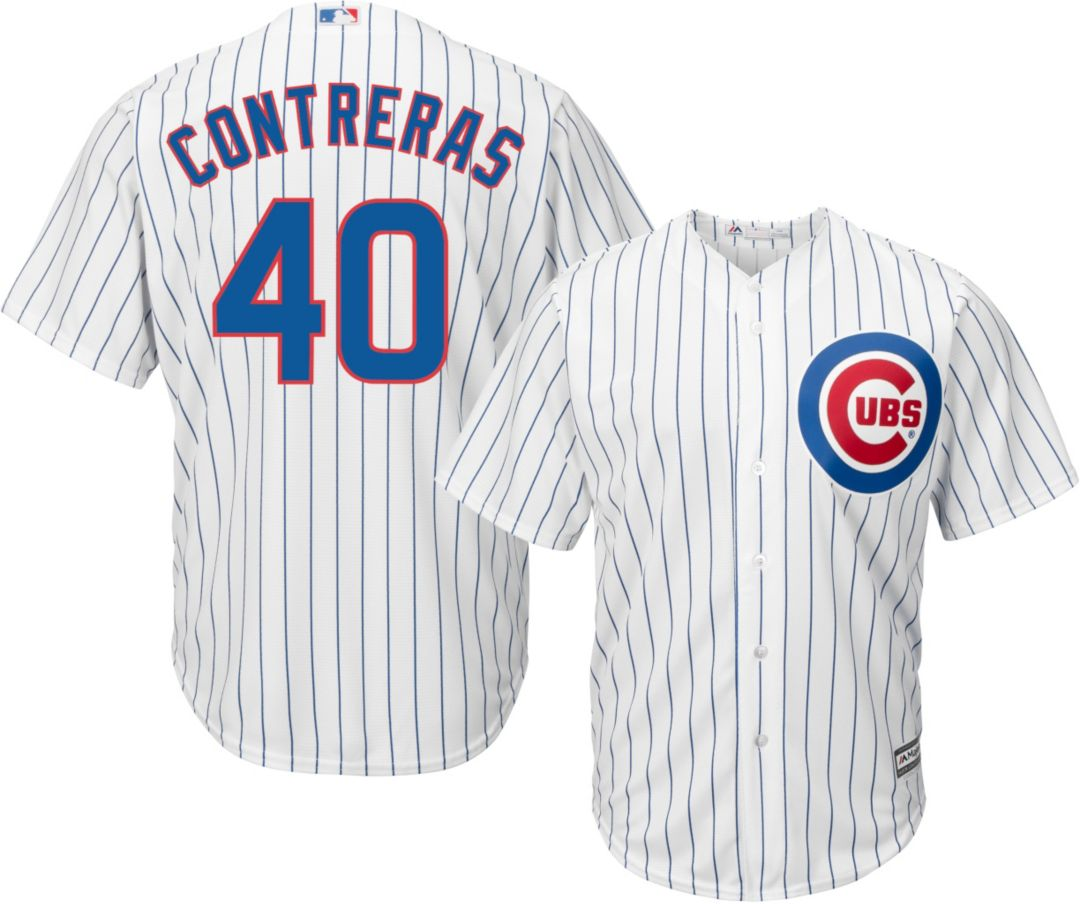 new concept aaa46 85a00 Majestic Men's Replica Chicago Cubs Willson Contreras #40 Cool Base Home  White Jersey