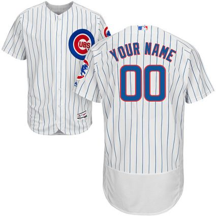 225aa755003 Majestic Men's Custom Authentic Chicago Cubs Flex Base Home White On ...