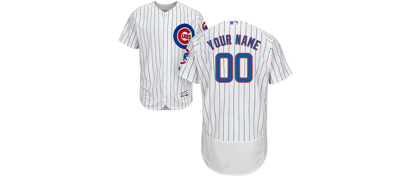 Majestic Men's Custom Authentic Chicago Cubs Flex Base Home White On-Field Jersey