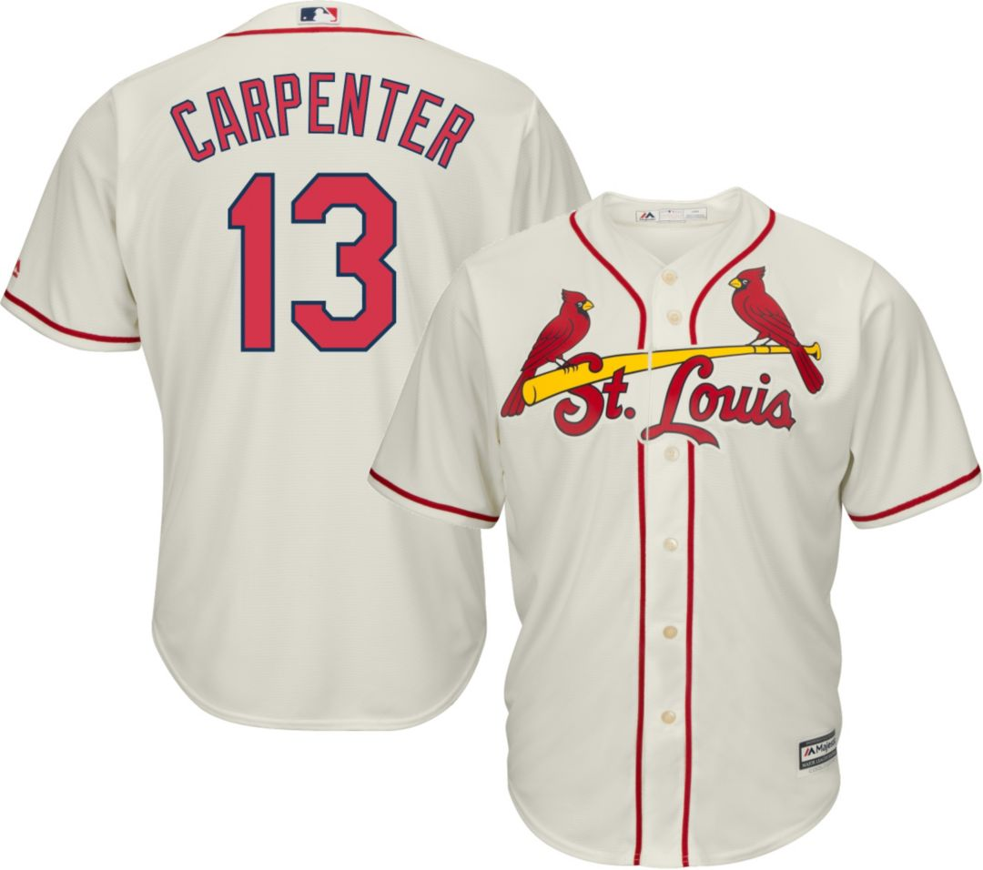 quality design e4a16 10dd3 Majestic Men's Replica St. Louis Cardinals Matt Carpenter #13 Cool Base  Alternate Ivory Jersey