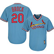Majestic Men's Replica St. Louis Cardinals Lou Brock Cool Base Light Blue Cooperstown Jersey