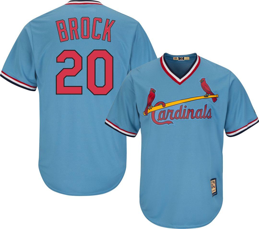 c0750833d Majestic Men s Replica St. Louis Cardinals Lou Brock Cool Base Light Blue  Cooperstown Jersey 1