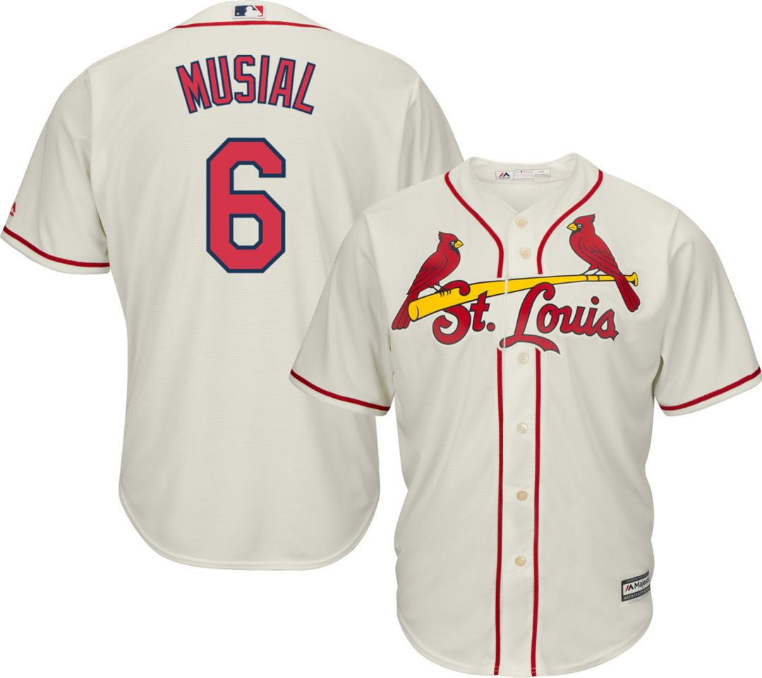 sneakers for cheap ae364 3e05c Majestic Men's Replica St. Louis Cardinals Stan Musial #6 Cool Base  Alternate Ivory Jersey