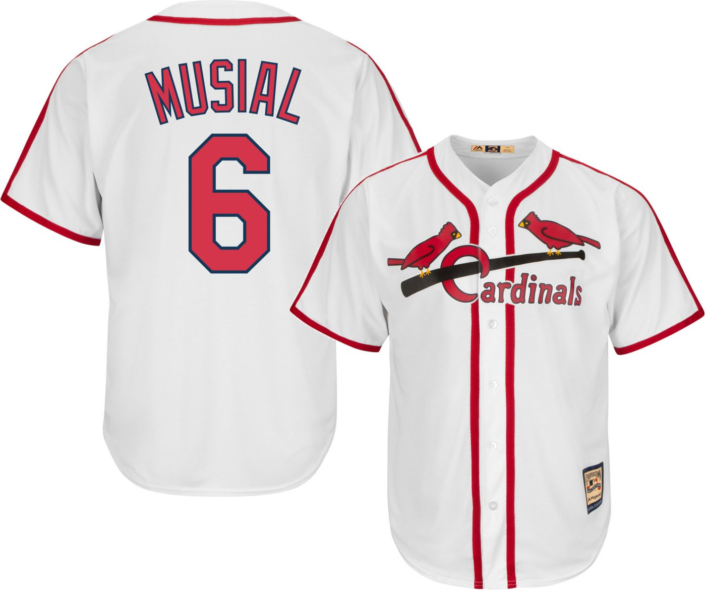 Majestic Men's Replica St. Louis Cardinals Stan Musial Cool Base White Cooperstown Jersey