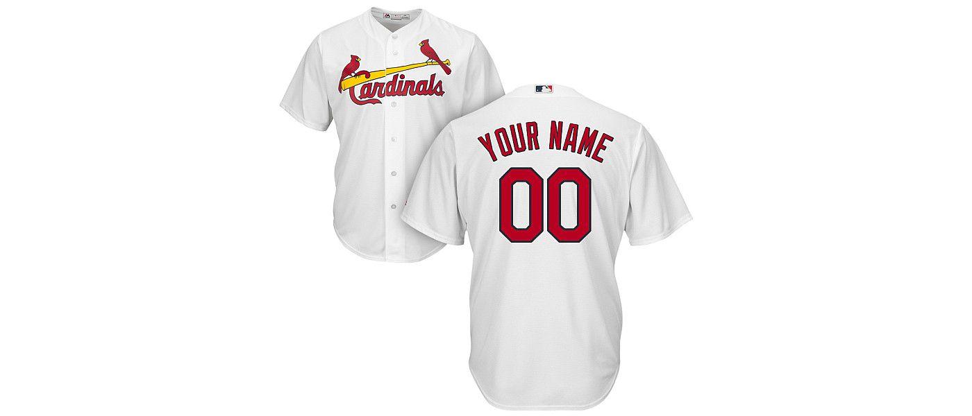 Majestic Men's Custom Cool Base Replica St. Louis Cardinals Home White Jersey