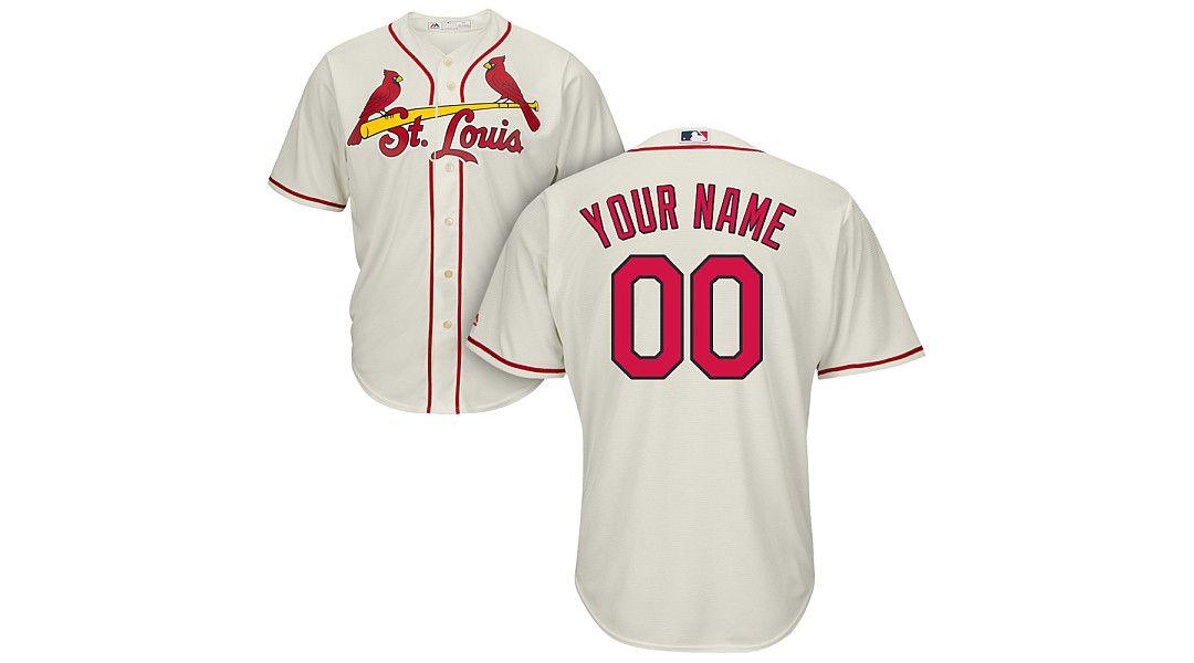 sale retailer 1f235 3ef18 Majestic Men's Custom Cool Base Replica St. Louis Cardinals Alternate Ivory  Jersey