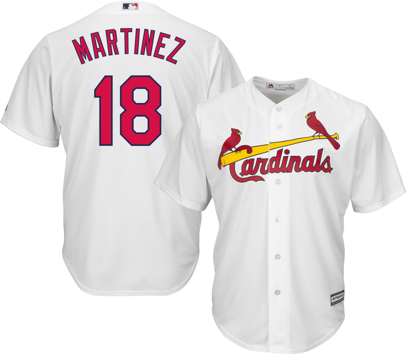 new product e9cf8 cb974 Majestic Men's Replica St. Louis Cardinals Carlos Martinez #18 Cool Base  Home White Jersey
